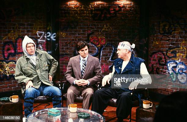Brad Hall as Little Rat Gary Kroeger as Charles Thorne and Edwn Newman as Crazy Max during the 'Urban Answers' skit on February 25 1984