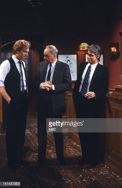 Brad Hall Edwin Newman and Joe Piscopo as Tom Snyder during the 'News Bar' skit on February 25 1984 Photo by Alan Singer/NBC/NBCU Photo Bank