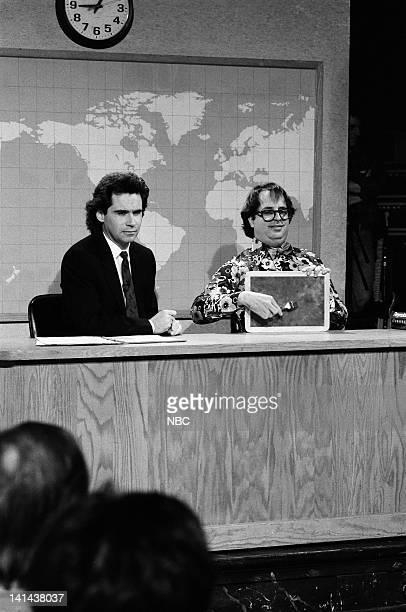 Dennis Miller Jon Lovitz as Annoying Man during the 'Weekend Update' skit on February 24 1990 Photo by Raymond Bonar/NBC/NBCU Photo Bank
