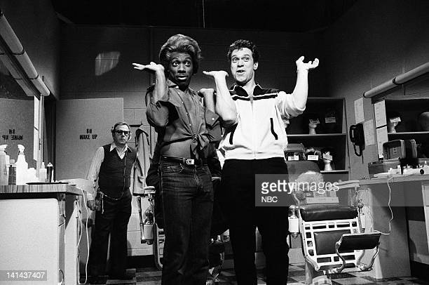 Eddie Murphy as Dion and Joe Piscopo as Blaire during the 'Hairdressers' skit on February 25 1984 Photo by Alan Singer/NBC/NBCU Photo Bank