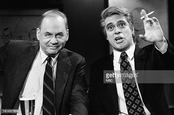 Edwin Newman and Joe Piscopo as Tom Snyder during the 'News Bar' skit on February 25 1984 Photo by Alan Singer/NBC/NBCU Photo Bank