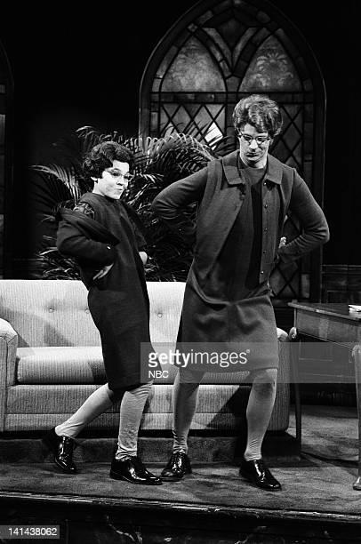 Fred Savage as Enid Dana Carvey as Church Lady during the 'Church Chat' skit on February 24 1990 Photo by Raymond Bonar/NBC/NBCU Photo Bank