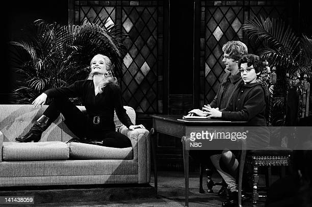 Jan Hooks as Marla Maples Dana Carvey as Chuch Lady Fred Savage as Enid during the 'Church Chat' skit on February 24 1990 Photo by Raymond...