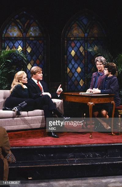 Jan Hooks as Marla Maples Phil Hartman as Donald Trump Dana Carvey as Chuch Lady Fred Savage as Enid during the 'Church Chat' skit on February 24...