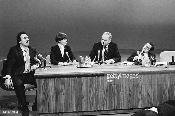 Jim Belushi as Leonard Kleinfeld Mary Gross as Joyce Sloan Edwin Newman Tim Kazurinsky as George Millar and Gary Kroeger as Tom Freund during the...