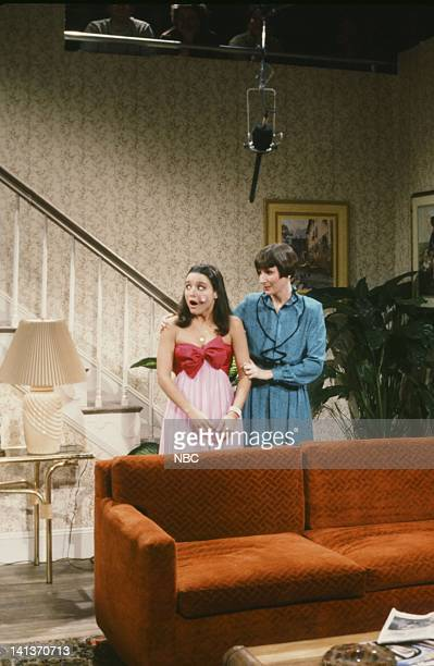 Julia LouisDreyfus as Cindy Laboeuf Mary Gross as mother during the 'Pimple' skit on February 26 1983 Photo by Alan Singer/NBC/NBCU Photo Bank