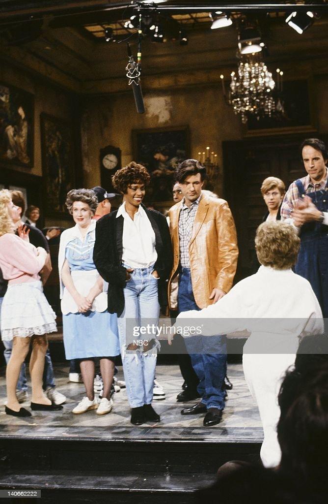 Julia Sweeney, Whitney Houston, Alec Baldwin, David Spade, Kevin Nealon during the '' skit on February 23, 1991 -- Photo by: Raymond Bonar/NBCU Photo Bank