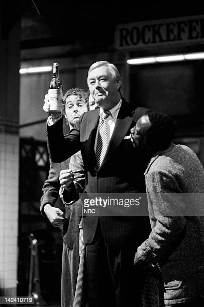 Peter Aykroyd as wino Daniel P Moynihan Garrett Morris as Curtis during the 'New York State Wines' sketch on March 15 1980