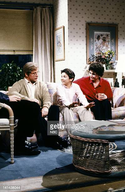 Phil Hartman as Bill Mendler Fred Savage as Doug Mendler Nora Dunn as Beverly Mendler during the 'Imaginary Friend' skit on February 24 1990 Photo by...