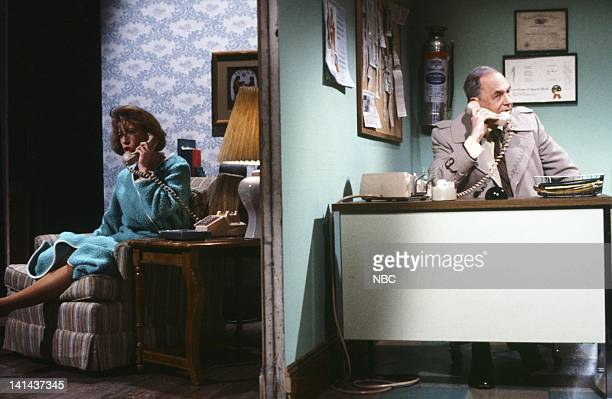 Robin Duke as caller and Edwin Newman during the 'Hotline' skit on February 25 1984 Photo by Alan Singer/NBC/NBCU Photo Bank