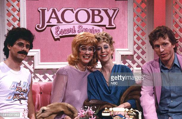 Tim Kazurinsky Mary Gross as Rosie Robin Duke as Luba and Brad Hall during the 'Jacoby Escort Service' skit on February 25 1984 Photo by Alan...