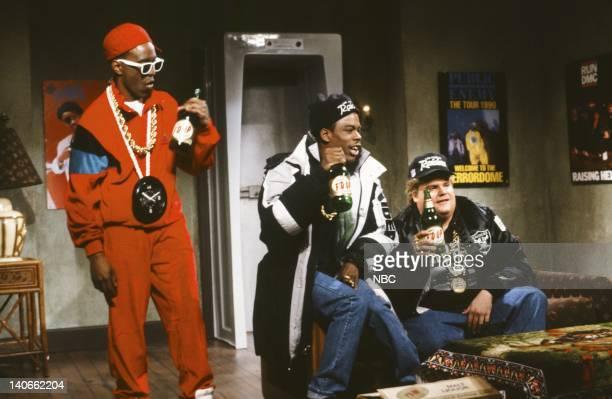 Tim Meadows as Flavor Flav Chris Rock as Onski Chris Farley as B Fats during the 'I'm Chillin' skit on February 23 1991 Photo by Raymond Bonar/NBCU...