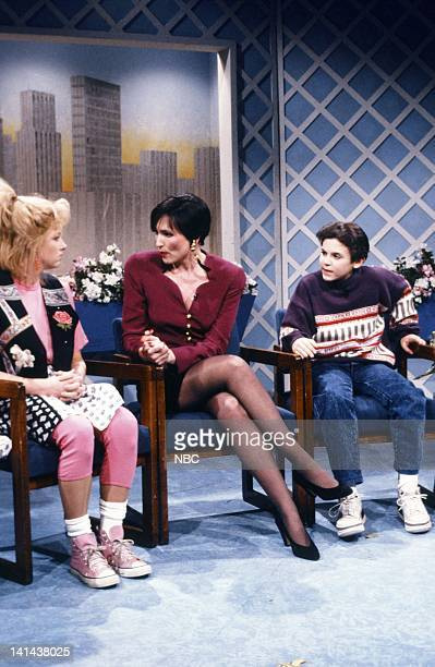 Victoria Jackson as Missy Stevens Nora Dunn as Pat Stevens Fred Savage during 'The Pat Stevens Show' skit on February 24 1990 Photo by Raymond...