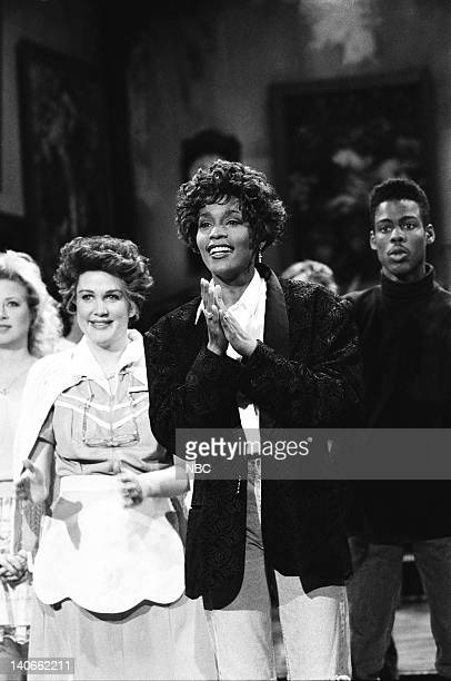 Victoria Jackson Julia Sweeney Whitney Houston Chris Rock during the closing on February 23 1991 Photo by Raymond Bonar/NBCU Photo Bank