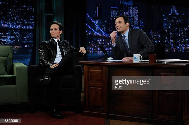 Episode 140 -- Airdate -- Pictured: Actor Scott Wolf during an interview with host Jimmy Fallon on November 2, 2009