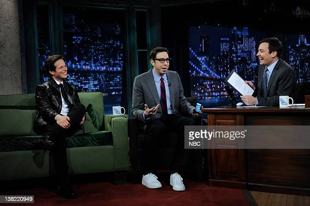 FALLON Episode 140 Airdate Pictured Actor Scott Wolf editorinchief of Engadget Josh Topolsky during an interview with host Jimmy Fallon on November 2...