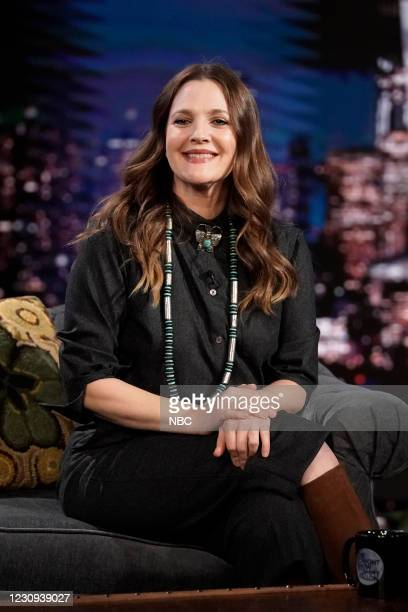 Episode 1400A -- Pictured: Talk show host Drew Barrymore during an interview on February 2, 2021 --