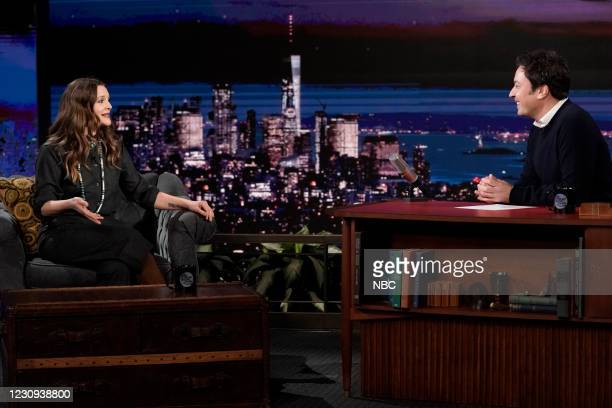 Episode 1400A -- Pictured: Talk show host Drew Barrymore during an interview with host Jimmy Fallon on February 2, 2021 --