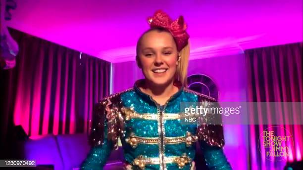 Episode 1401A -- Pictured in this screengrab: Dancer JoJo Siwa during an interview on February 3, 2021 --