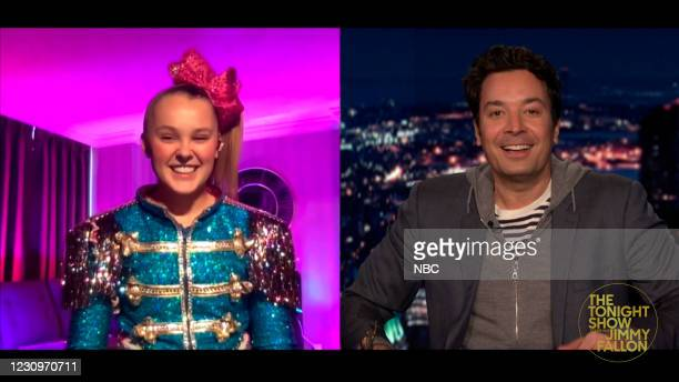 Episode 1401A -- Pictured in this screengrab: Dancer JoJo Siwa during an interview with host Jimmy Fallon on February 3, 2021 --