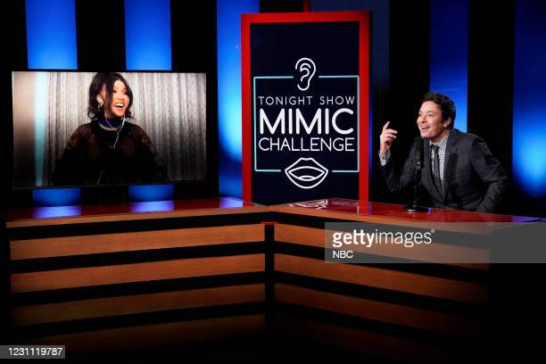 """Episode 1407A -- Pictured: Rapper Cardi B and host Jimmy Fallon during """"The Mimic Challenge"""" on February 11, 2021 --"""