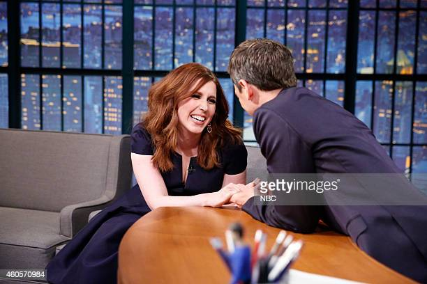 Actress Vanessa Bayer during an interview with host Seth Meyers on December 16 2014