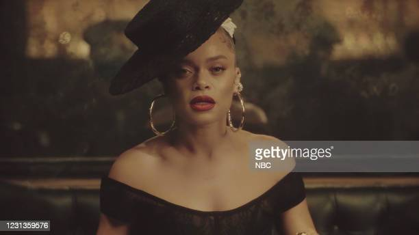 Episode 1410A -- Pictured in this screengrab: Musical guest Andra Day performs on February 23, 2021 --