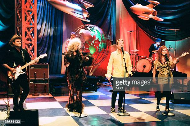 Keith Strickland Cindy Wilson Fred Schneider Kate Pierson of musical guest The B52's perform on August 6 1998