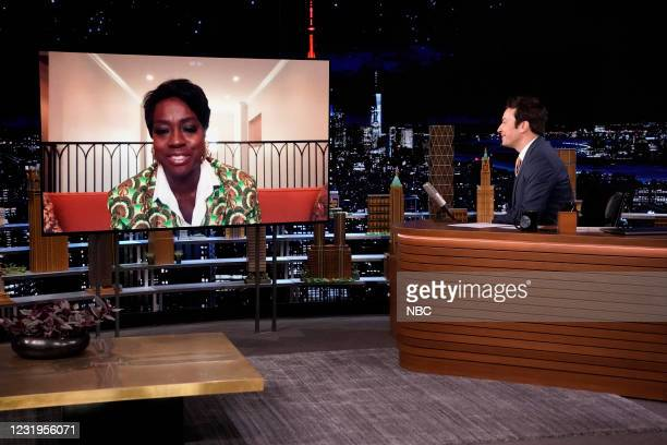 Episode 1433 -- Pictured: Actress Viola Davis during an interview with host Jimmy Fallon on Friday, March 26, 2021 --
