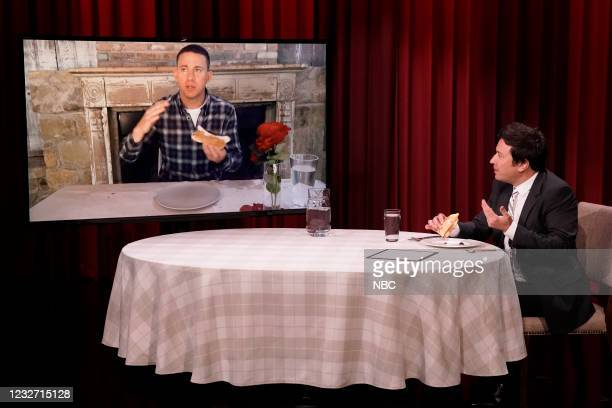 """Episode 1456 -- Pictured: Actor Channing Tatum and host Jimmy Fallon during """"Kid Recipes"""" on Wednesday, May 5, 2021 --"""