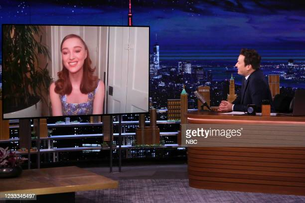 Episode 1475 -- Pictured: Actress Phoebe Dynevor during an interview with host Jimmy Fallon on Tuesday, June 8, 2021 --