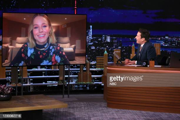 Episode 1476 -- Pictured: Actress Kristen Bell during an interview with host Jimmy Fallon on Wednesday, June 9, 2021 --