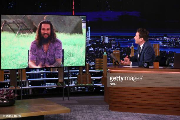 Episode 1477 -- Pictured: Actor Jason Momoa during an interview with host Jimmy Fallon on Thursday, June 10, 2021 --