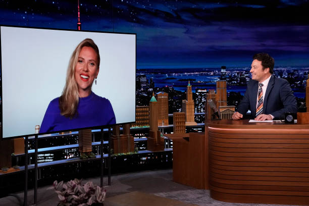 """NY: NBCs """"Tonight Show Starring Jimmy Fallon"""" with guests Scarlett Johansson, Questlove, Comedian Graham Kay"""
