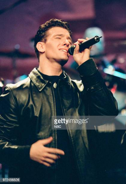 Episode 1483 -- Pictured: Musical guest, NSYNC's JC Chasez performing on November 06, 1998 --