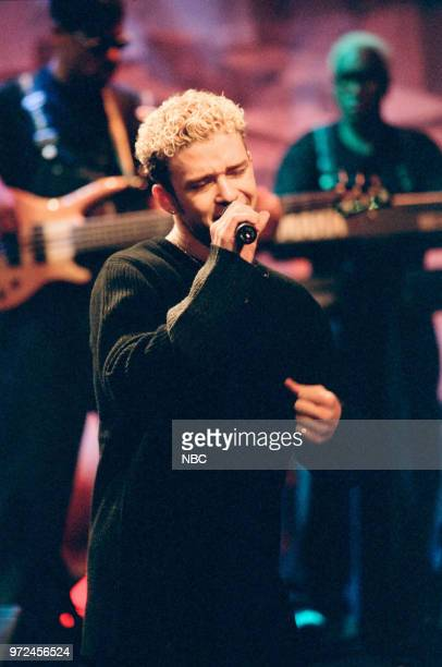 Episode 1483 -- Pictured: Musical guest, NSYNC's Justin Timberlake performing on November 06, 1998 --