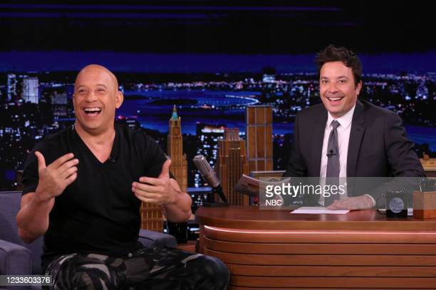 Episode 1484 -- Pictured: Actor Vin Diesel during an interview with host Jimmy Fallon on Tuesday, June 22, 2021 --