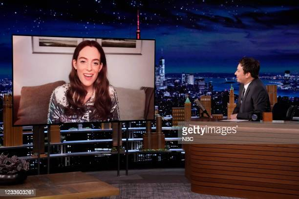 Episode 1484 -- Pictured: Actress Riley Keough during an interview with host Jimmy Fallon on Tuesday, June 22, 2021 --