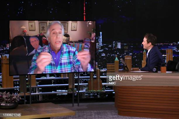 Episode 1485 -- Pictured: Actor Henry Winkler during an interview with host Jimmy Fallon on Wednesday, June 23, 2021 --