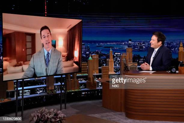 Episode 1485 -- Pictured: Actor John Cena during an interview with host Jimmy Fallon on Wednesday, June 23, 2021 --