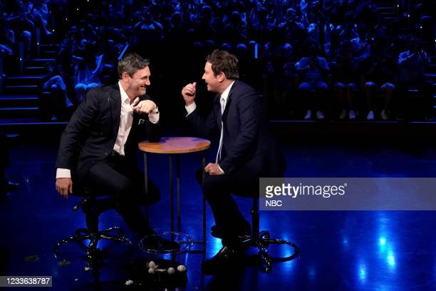 """Episode 1486 -- Pictured: Actor Jon Hamm and host Jimmy Fallon during """"Egg Russian Roulette"""" on Thursday, June 24, 2021 --"""