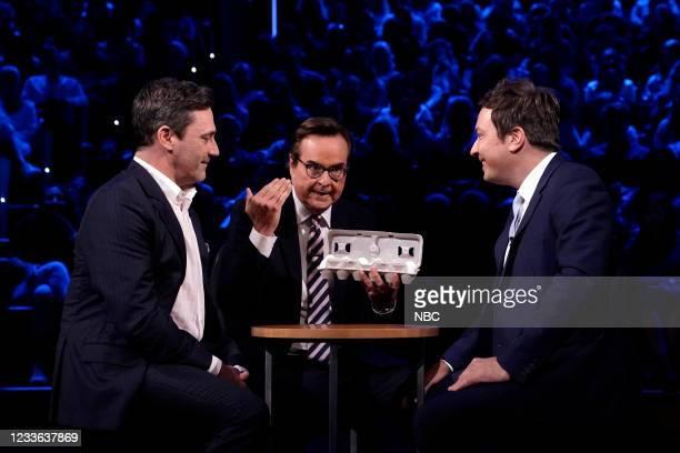 """Episode 1486 -- Pictured: Actor Jon Hamm, announcer Steve Higgins, and host Jimmy Fallon during """"Egg Russian Roulette"""" on Thursday, June 24, 2021 --"""