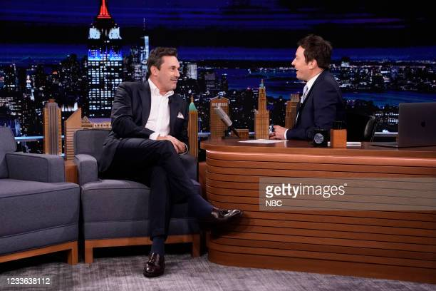 Episode 1486 -- Pictured: Actor Jon Hamm during an interview with host Jimmy Fallon on Thursday, June 24, 2021 --