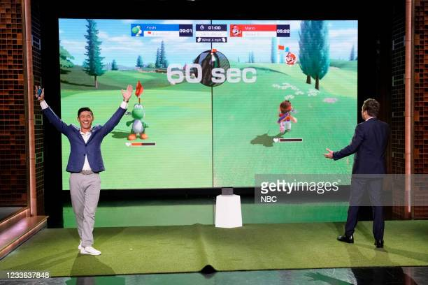 """Episode 1486 -- Pictured: Golfer Collin Morikawa and host Jimmy Fallon play """"Mario Golf: Super Rush"""" on Thursday, June 24, 2021 --"""