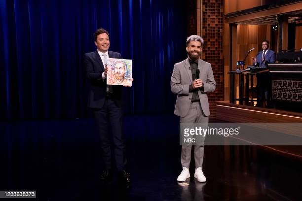 Episode 1486 -- Pictured: Host Jimmy Fallon with comedian Rojo Perez after the performance on Thursday, June 24, 2021 --