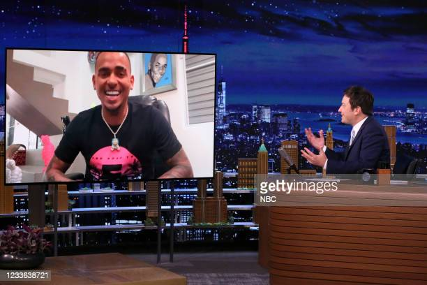Episode 1486 -- Pictured: Singer Ozuna during an interview with host Jimmy Fallon on Thursday, June 24, 2021 --