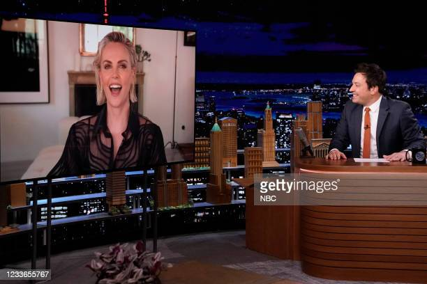 Episode 1487 -- Pictured: Actress Charlize Theron during an interview with host Jimmy Fallon on Friday, June 25, 2021 --
