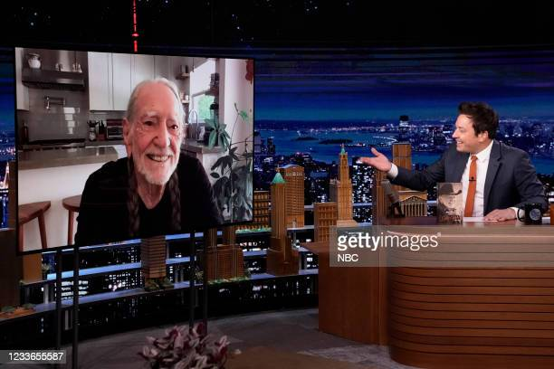 Episode 1487 -- Pictured: Musician Willie Nelson during an interview with host Jimmy Fallon on Friday, June 25, 2021 --
