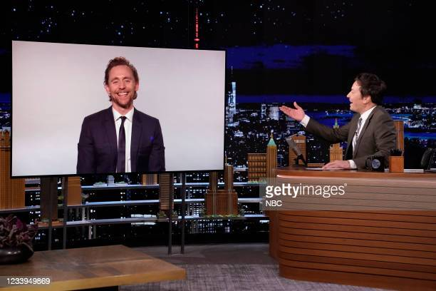 Episode 1488 -- Pictured: Actor Tom Hiddleston during an interview with host Jimmy Fallon on Monday, July 12, 2021 --
