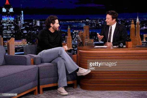 Episode 1489 -- Pictured: Actor Édgar Ramírez during an interview with host Jimmy Fallon on Tuesday, July 13, 2021 --
